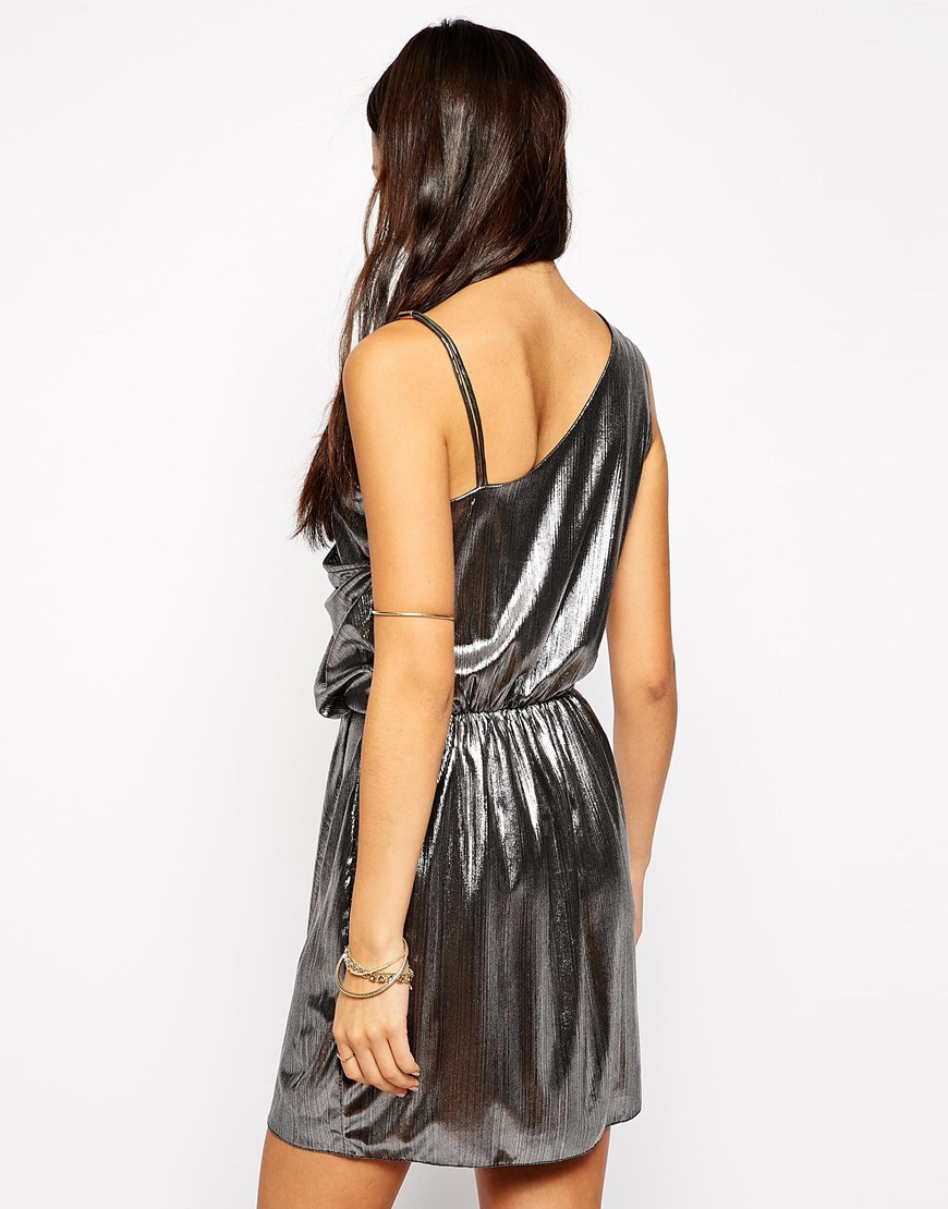 Fashion Union Metallic Wrap Dress Lyst
