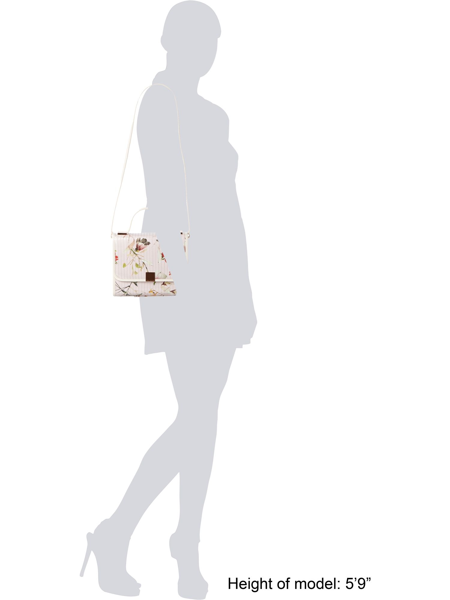 Ted Baker Nude Floral Print Quilt Cross Body Bag in Natural