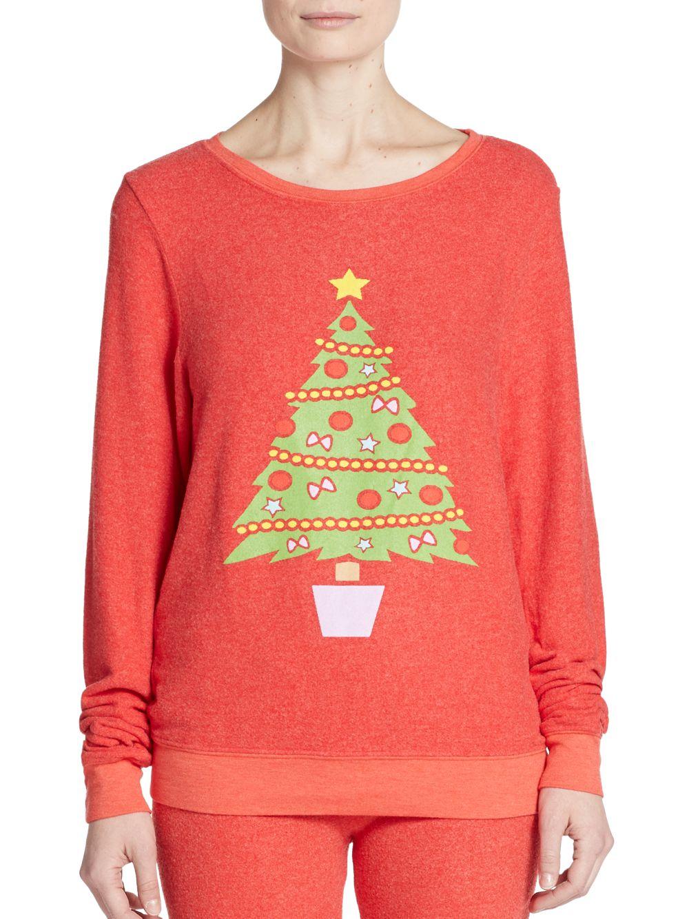 Wildfox Christmas.Wildfox Christmas Tree Graphic Sweatshirt In Pink Lyst