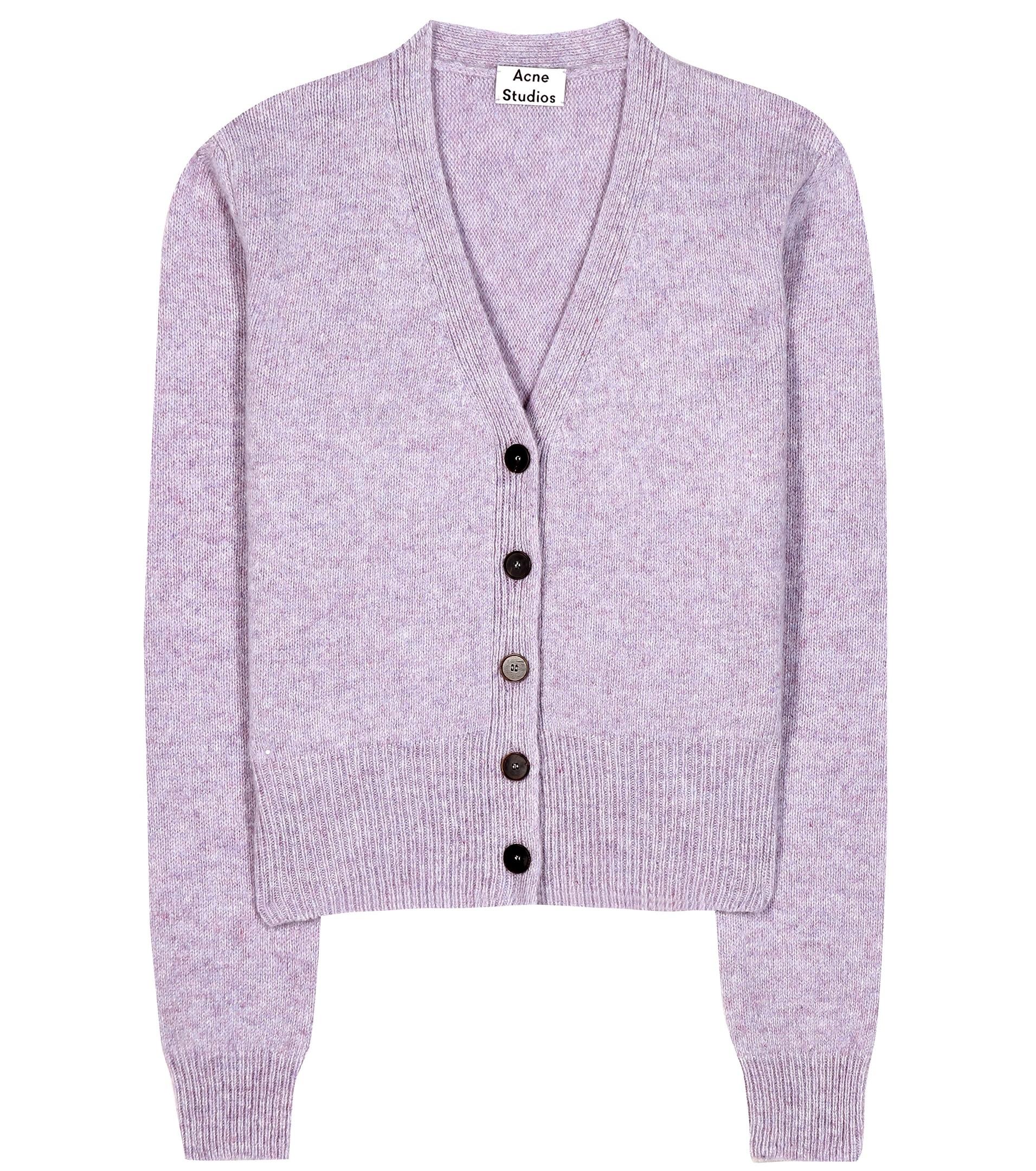 Acne studios Pashmina Wool Cardigan in Purple | Lyst