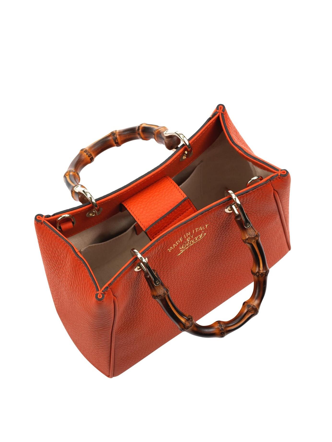 a0cd56e7a60 Lyst - Gucci Bamboo Mini Leather Cross-body Bag in Orange