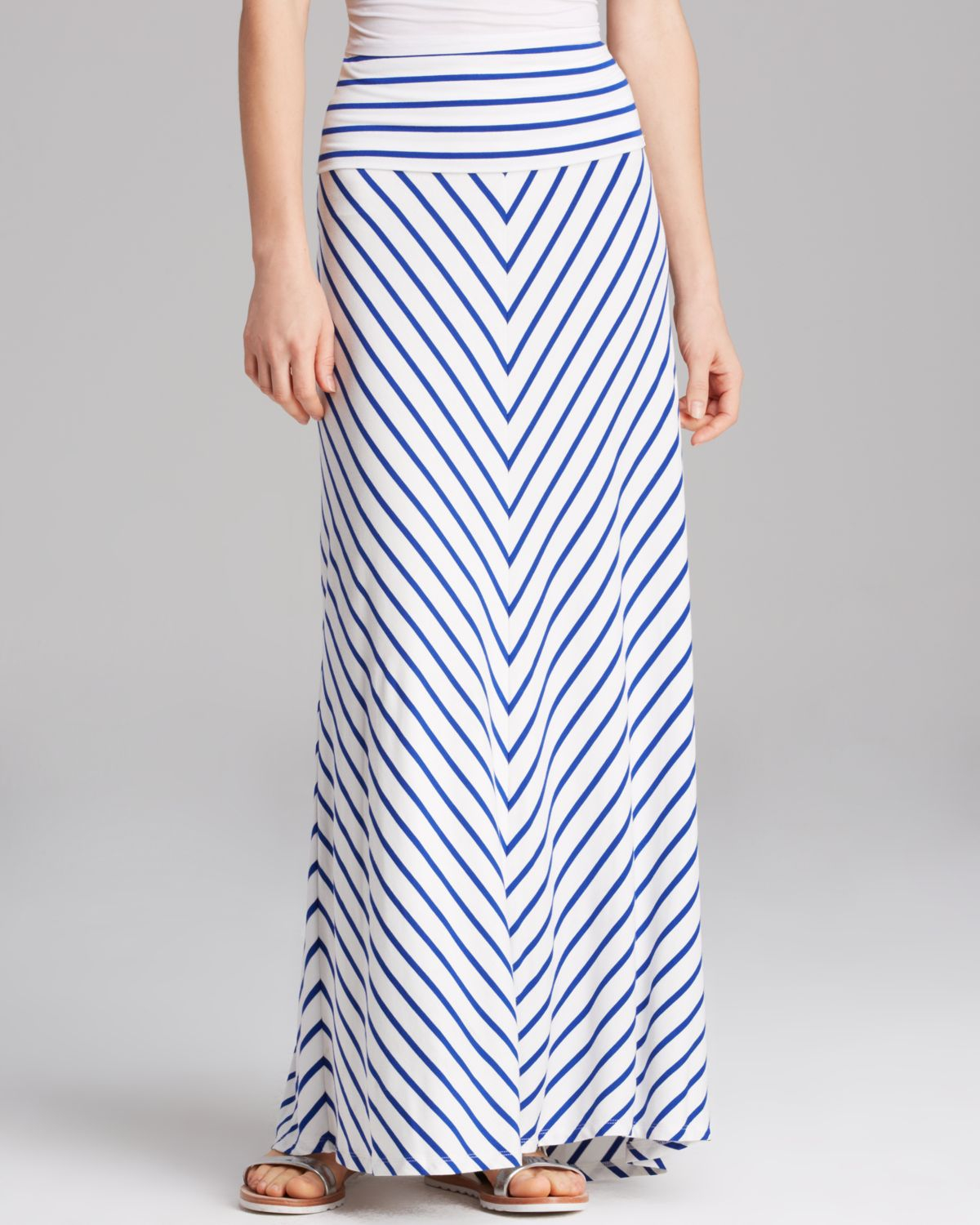 Blue And White Striped Long Skirt - Dress Ala