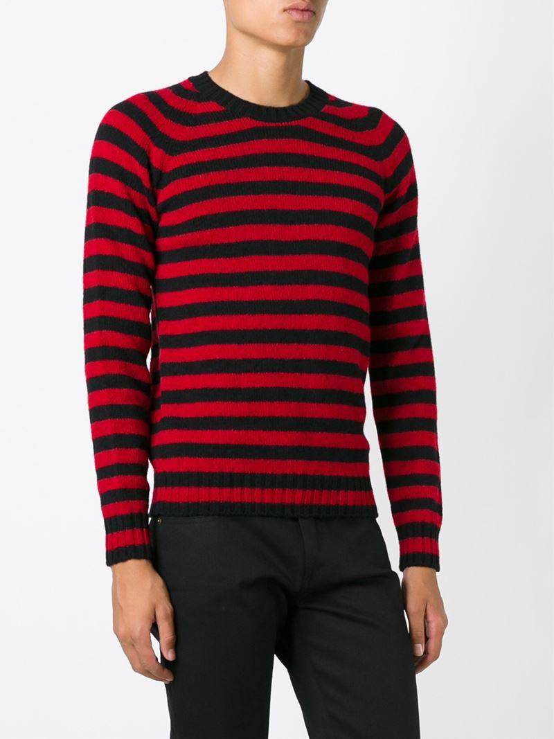 53376eb7f3ff Lyst - Saint Laurent Striped Sweater in Black for Men