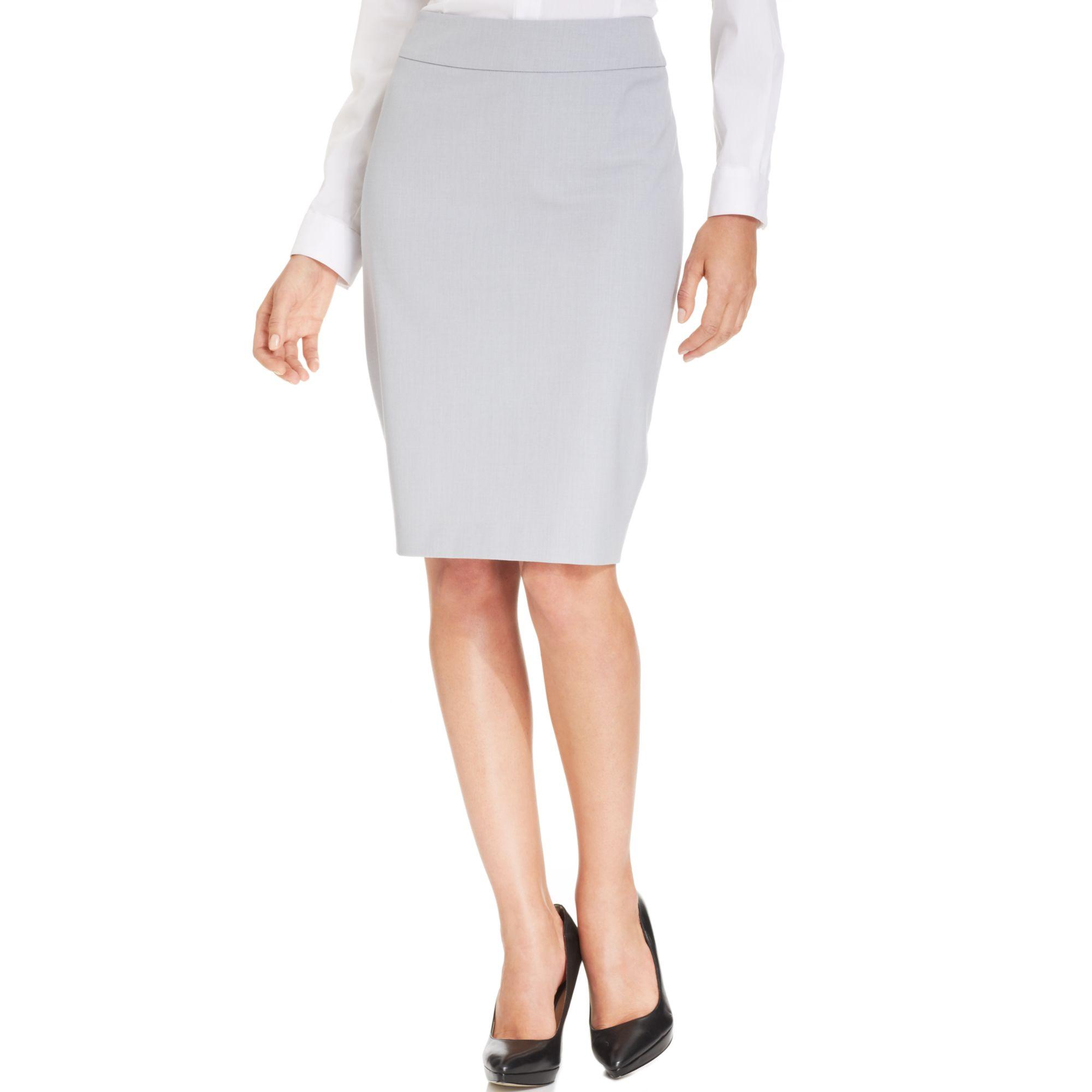jones new york pencil skirt in gray light grey