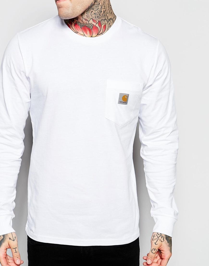 White long sleeve t shirt with pocket custom shirt for Custom t shirt with pocket