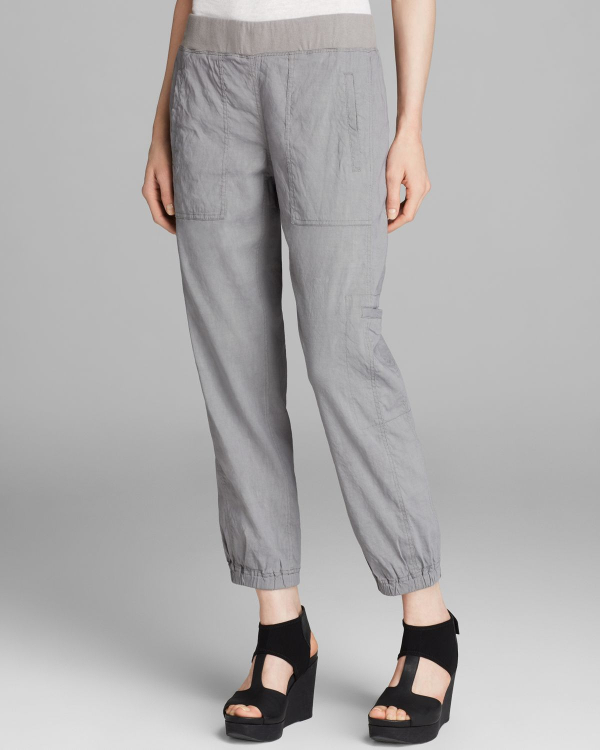 Eileen Fisher Cargo Ankle Pants In Gray Lyst