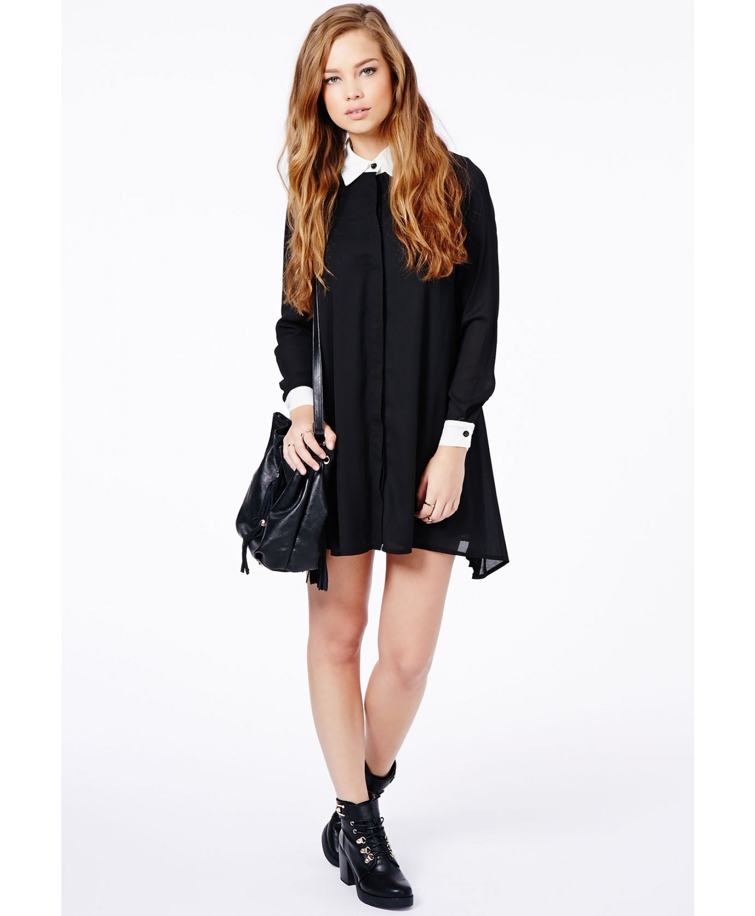 Missguided Callie Monochrome Collared Shirt Dress in Black | Lyst