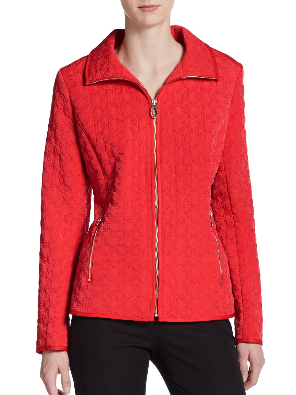 Ivanka Trump Zip Front Quilted Jacket In Coral Pink Lyst