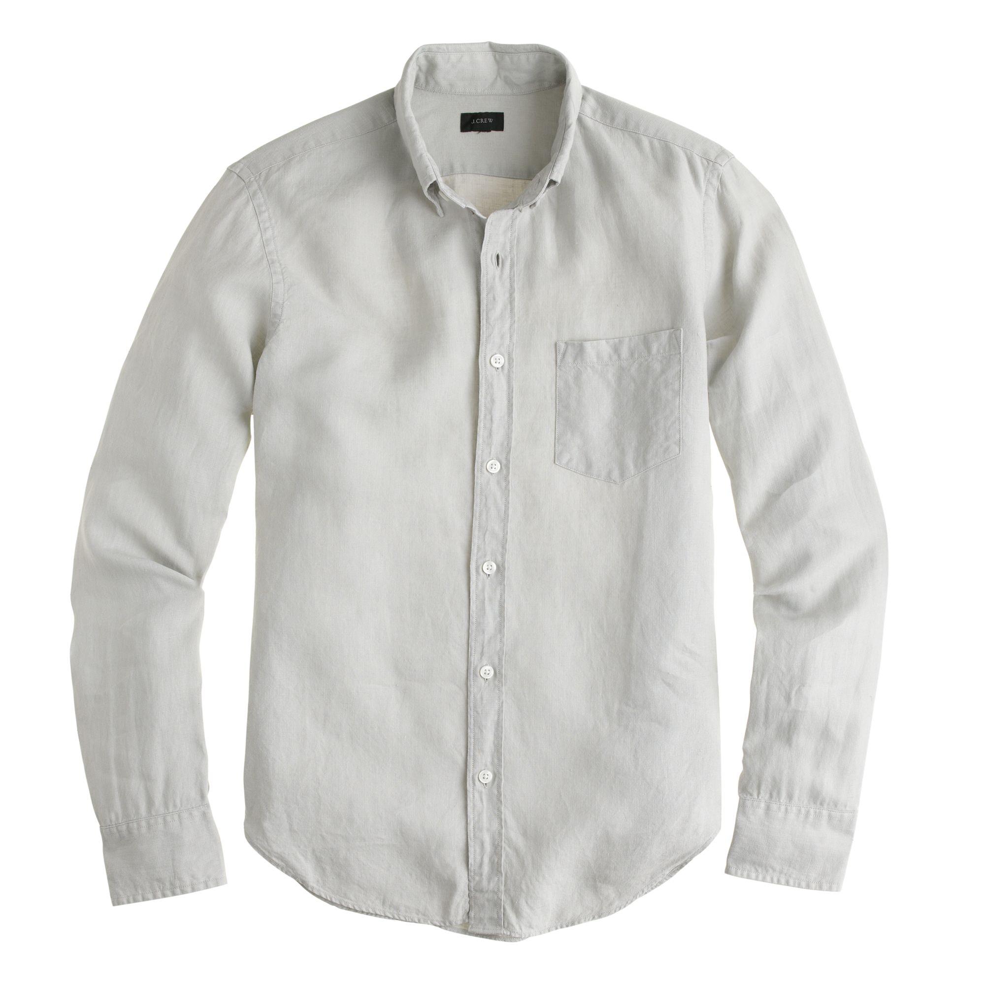 Slim irish linen shirt in solid in white for men lyst for Irish linen dress shirts