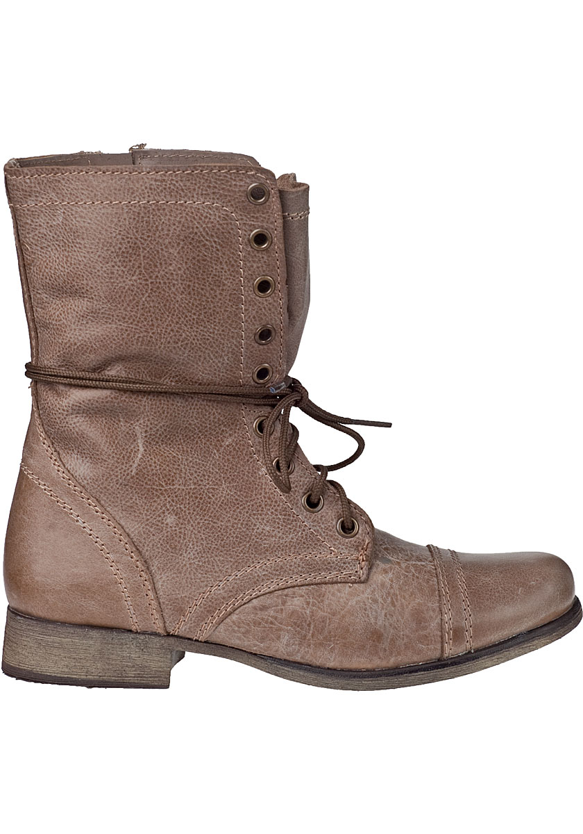 Steve madden Troopa Lace-up Boot Stone Leather in Brown | Lyst