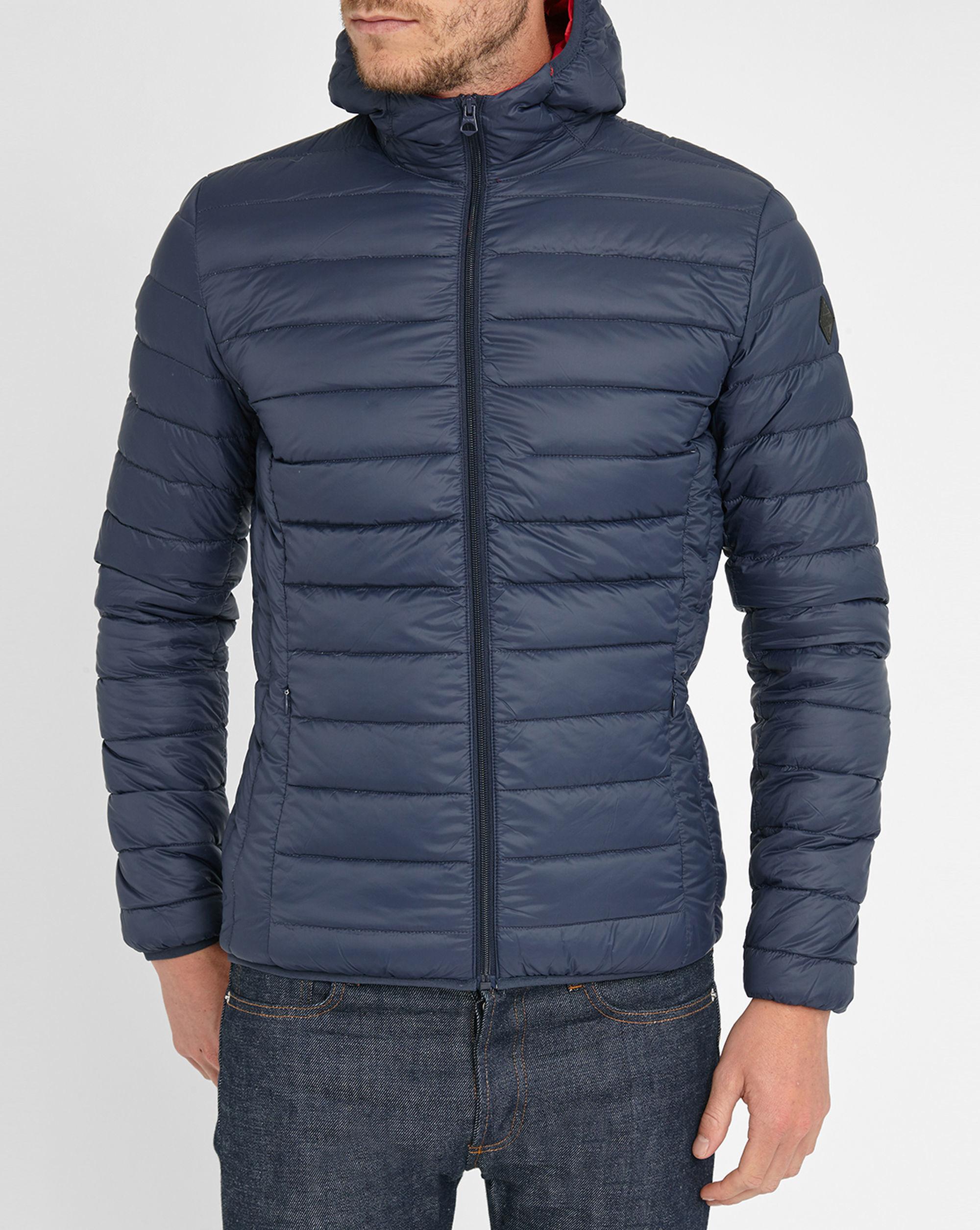 schott nyc navy light feather down jacket in blue for men lyst. Black Bedroom Furniture Sets. Home Design Ideas
