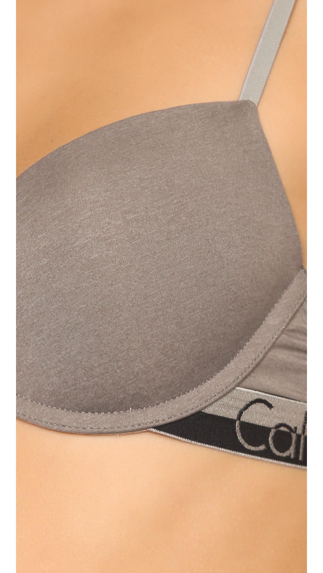 29f8508df92f6 Lyst - Calvin Klein Magnetic Force Flirty Push Up Bra in Gray