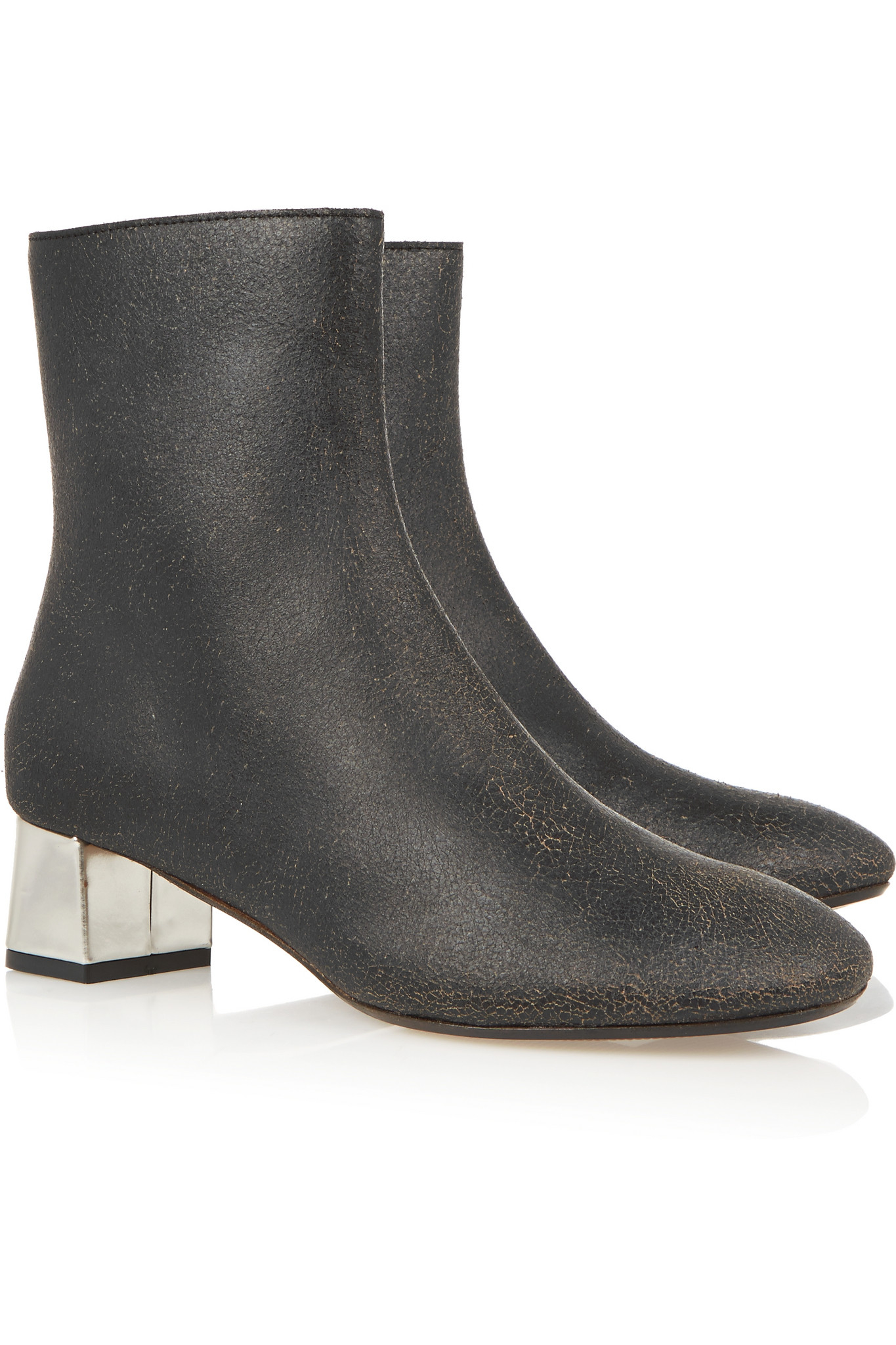 Marni Cracked-leather Ankle Boots in Dark Gray (Grey)