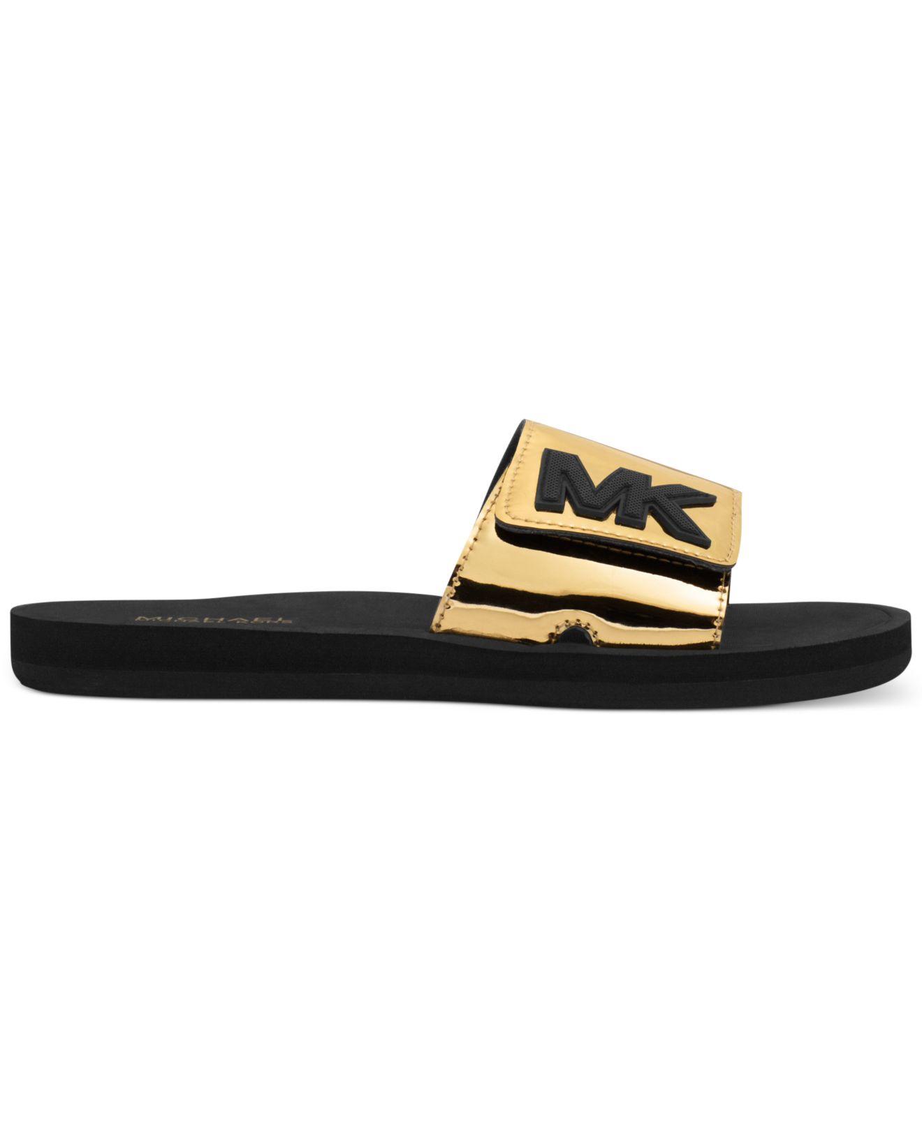 0386ef4c62d2 ... Michael kors Metallic-Leather Slides in Metallic Lyst ...