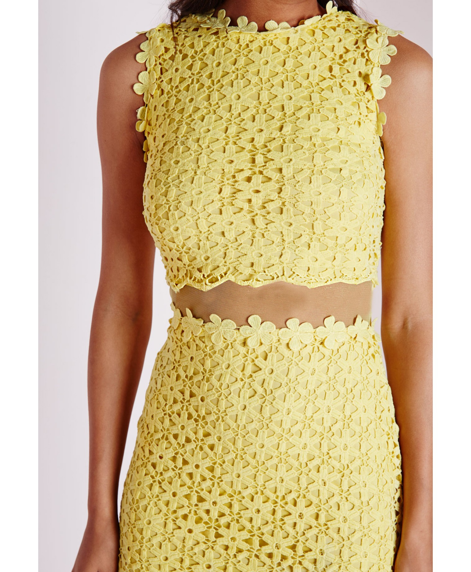 c88a6a346 Lyst - Missguided Mesh Waist Daisy Lace Dress Yellow in Yellow