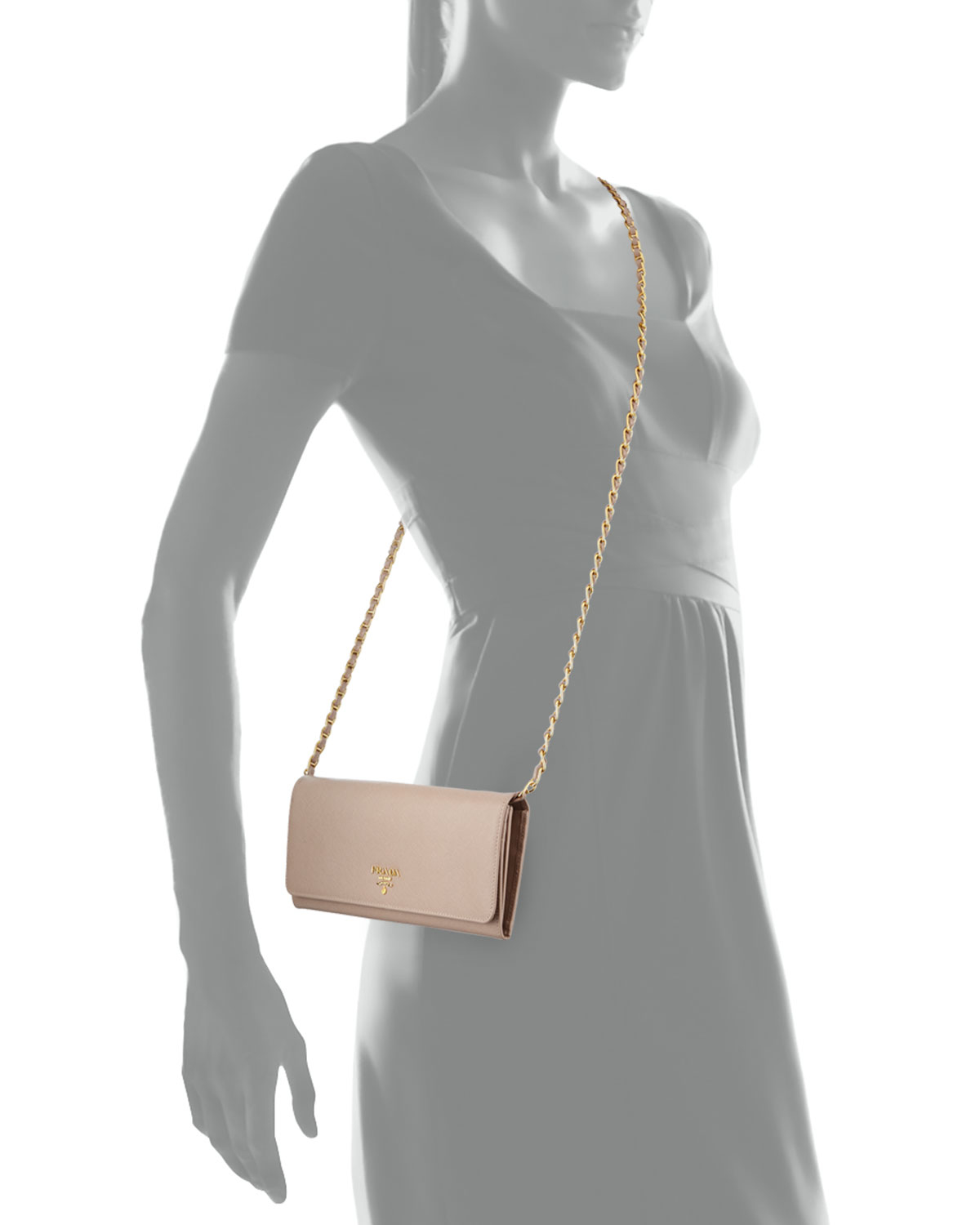 f4dc266031aa ... reduced lyst prada saffiano leather wallet on chain bag in natural  d1843 1a140 ...