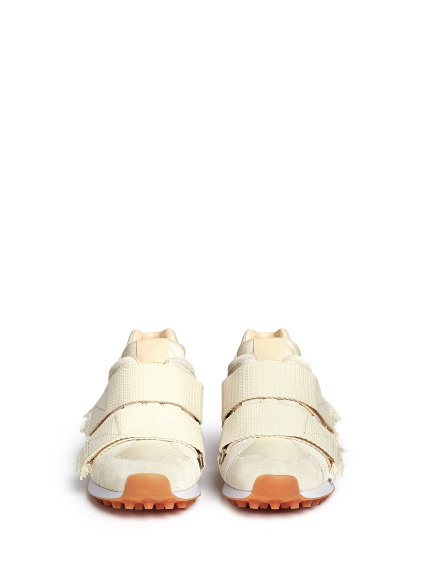 3.1 Phillip Lim 'trance' Strap Suede Sneakers in Natural