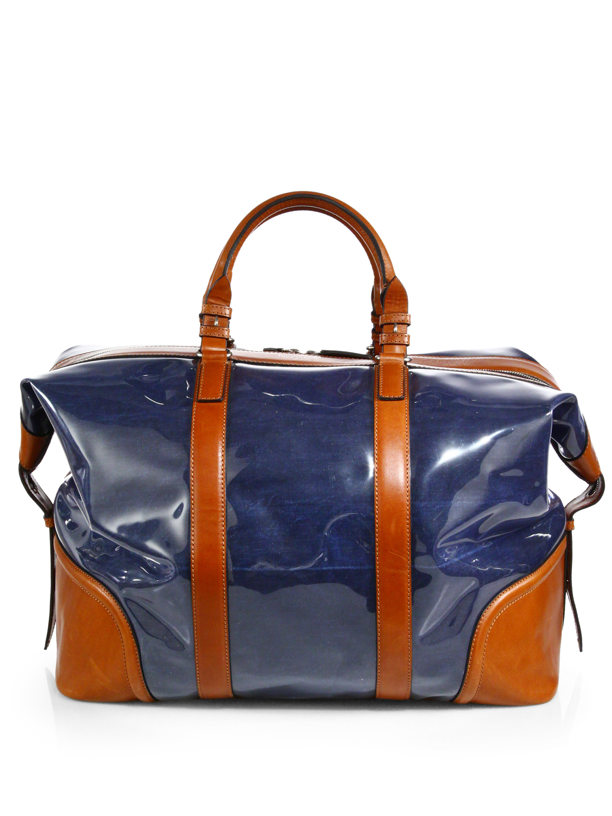 dsquared 178 leathertrimmed denim duffle in blue for lyst