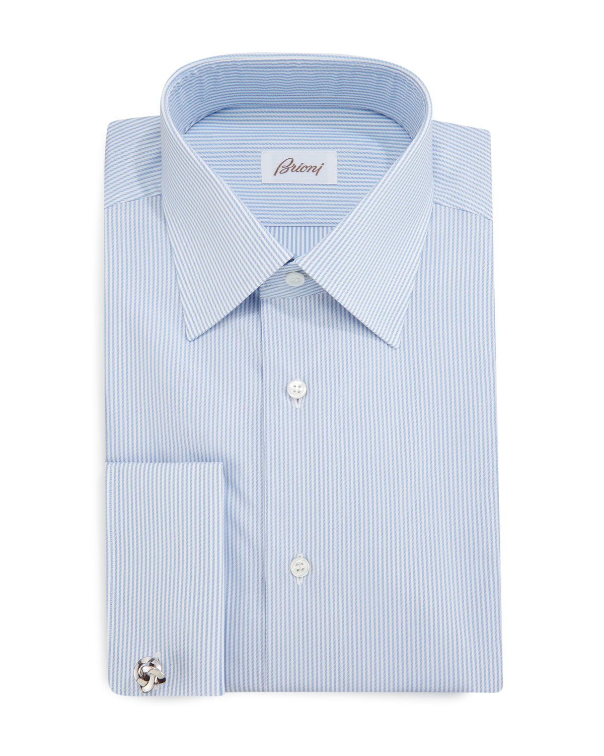 Brioni Rope Stripe French Cuff Dress Shirt In Blue For Men