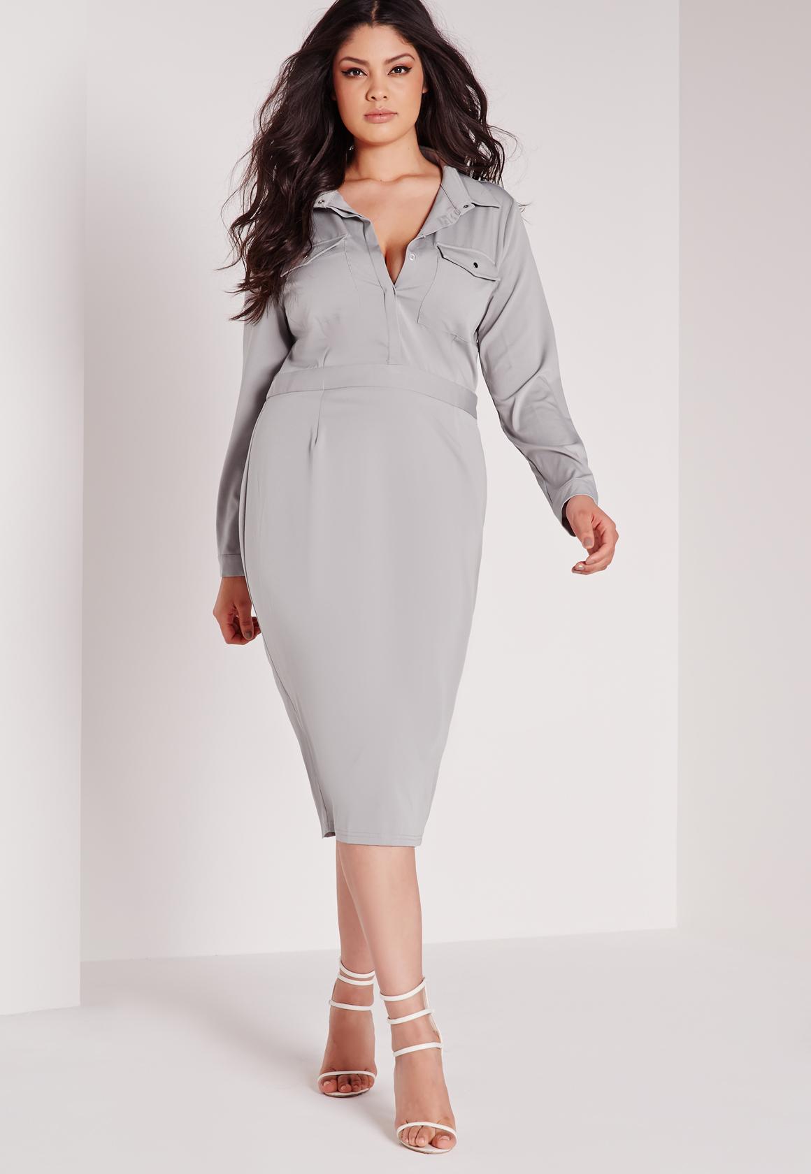 Missguided Plus Size Slinky Midi Dress Grey in Gray