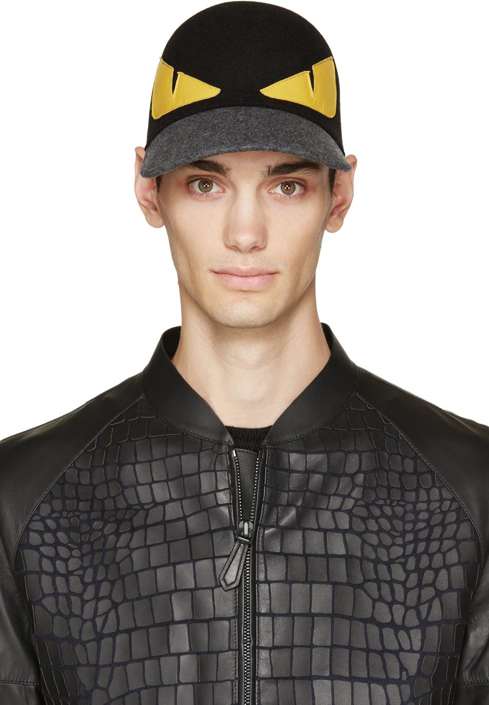 Lyst Fendi Monster Wool Baseball Cap In Black For Men