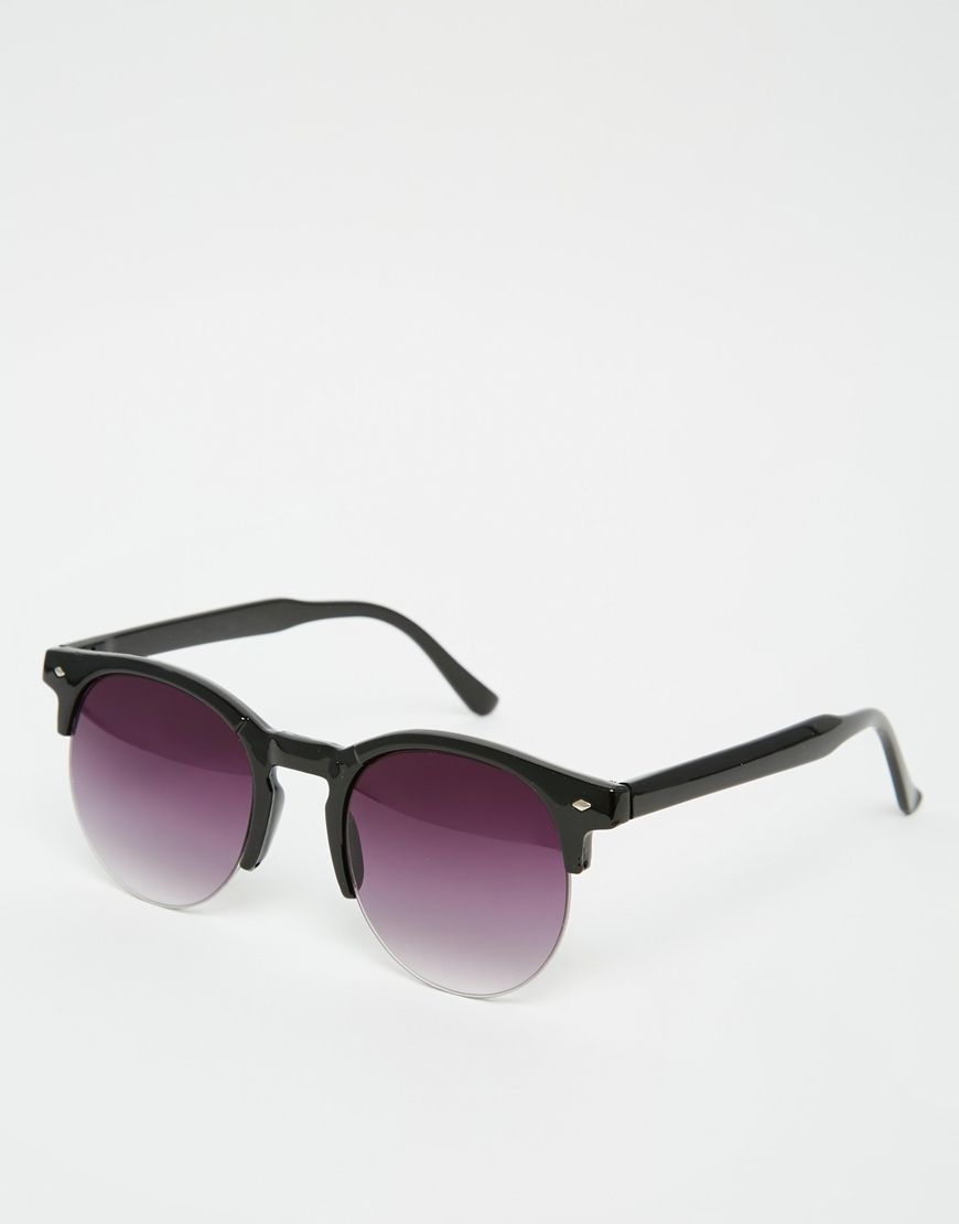 7x Round Sunglasses With Half Frame in Black for Men Lyst