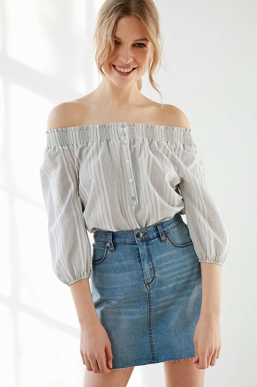 Bdg 5 Pocket Denim Pelmet Mini Skirt In Blue Lyst