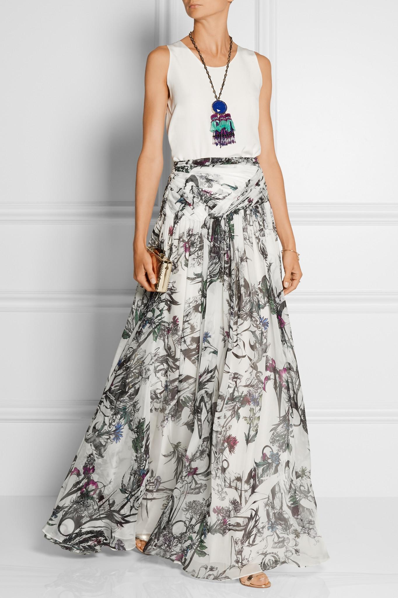 Matthew Williamson Printed Silk Chiffon Maxi Skirt Floral White Lyst