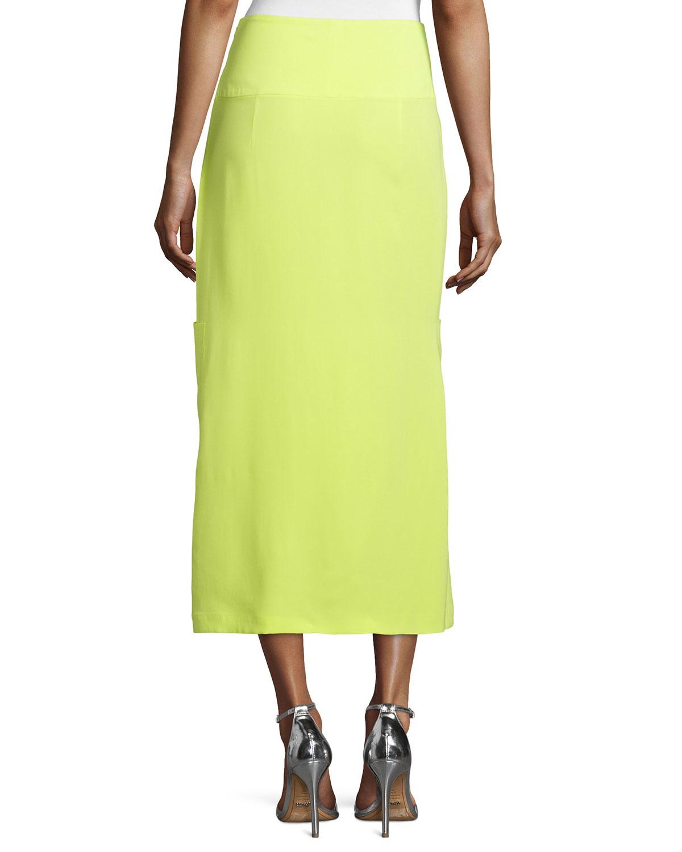 costume national yellow silk midi skirt in yellow lyst