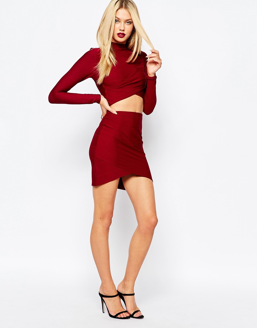 Missguided Bandage Wrap Over Mini Skirt in Red | Lyst