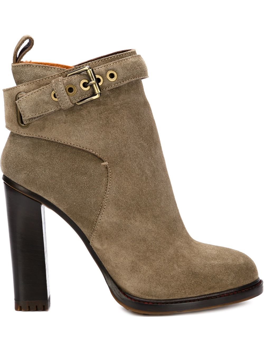 etro chunky heel ankle boots in brown lyst