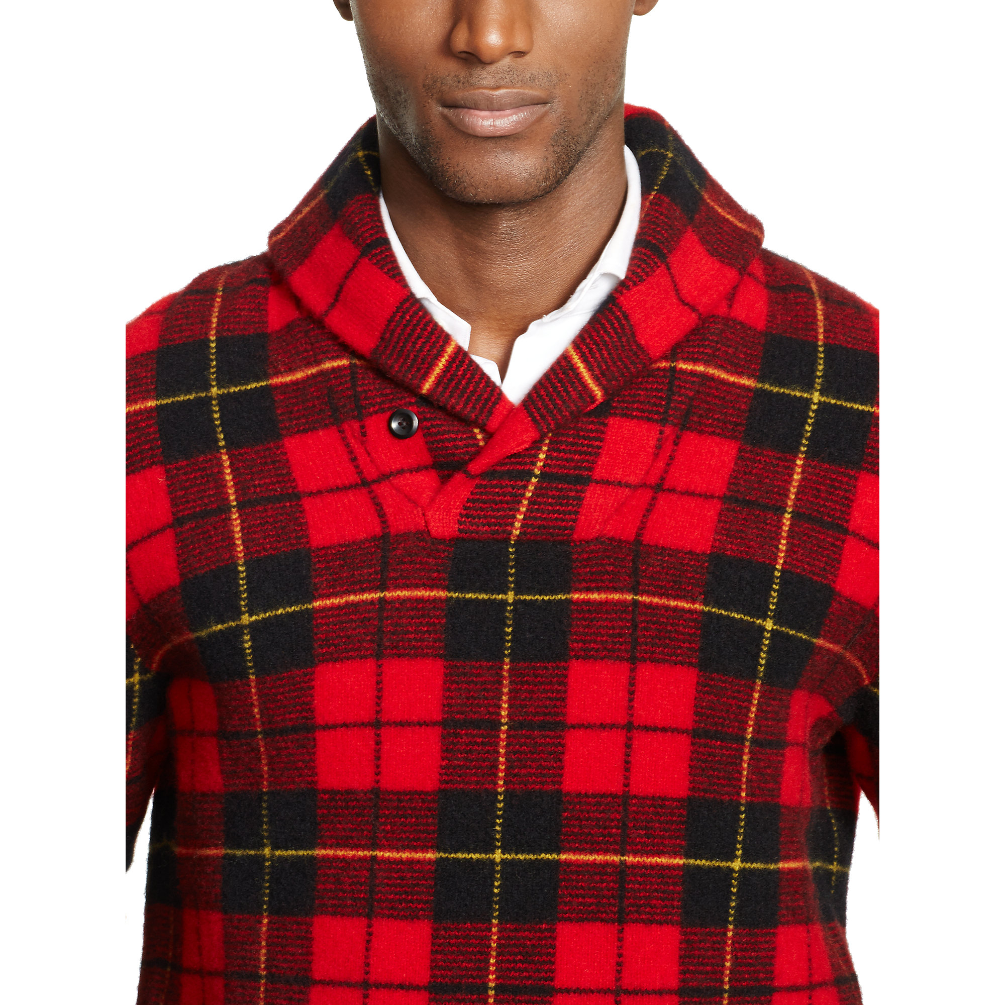 Polo ralph lauren Plaid Shawl-Collar Sweater in Red for Men   Lyst