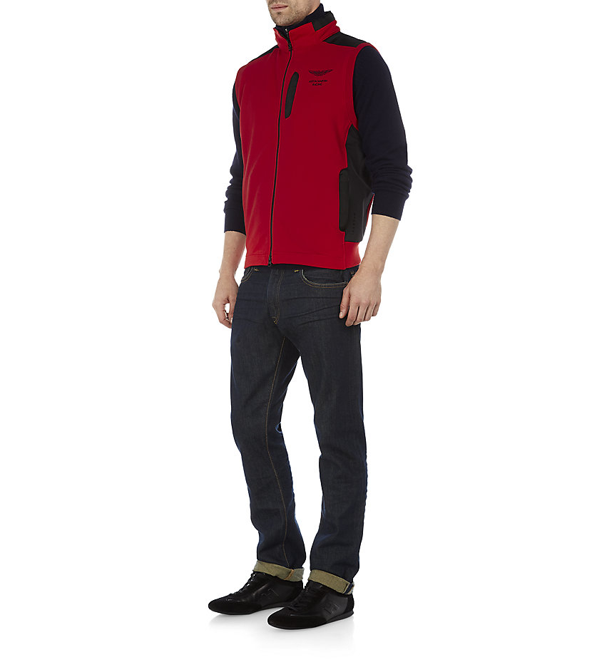 Hackett Aston Martin Racing Cotton And Nylon Gilet In Red