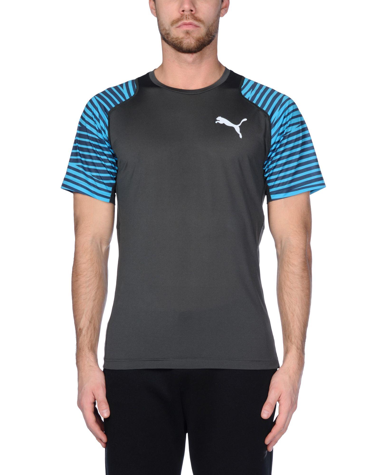 puma tshirt in gray for men steel grey save 15 lyst