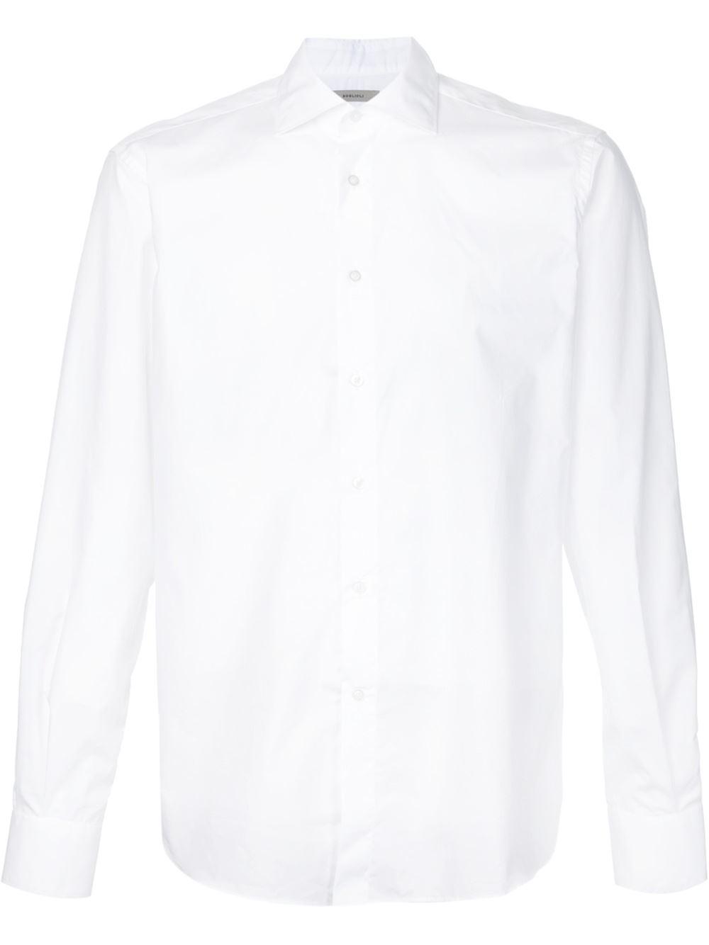 Boglioli cutaway collar shirt in white for men lyst for White cutaway collar shirt