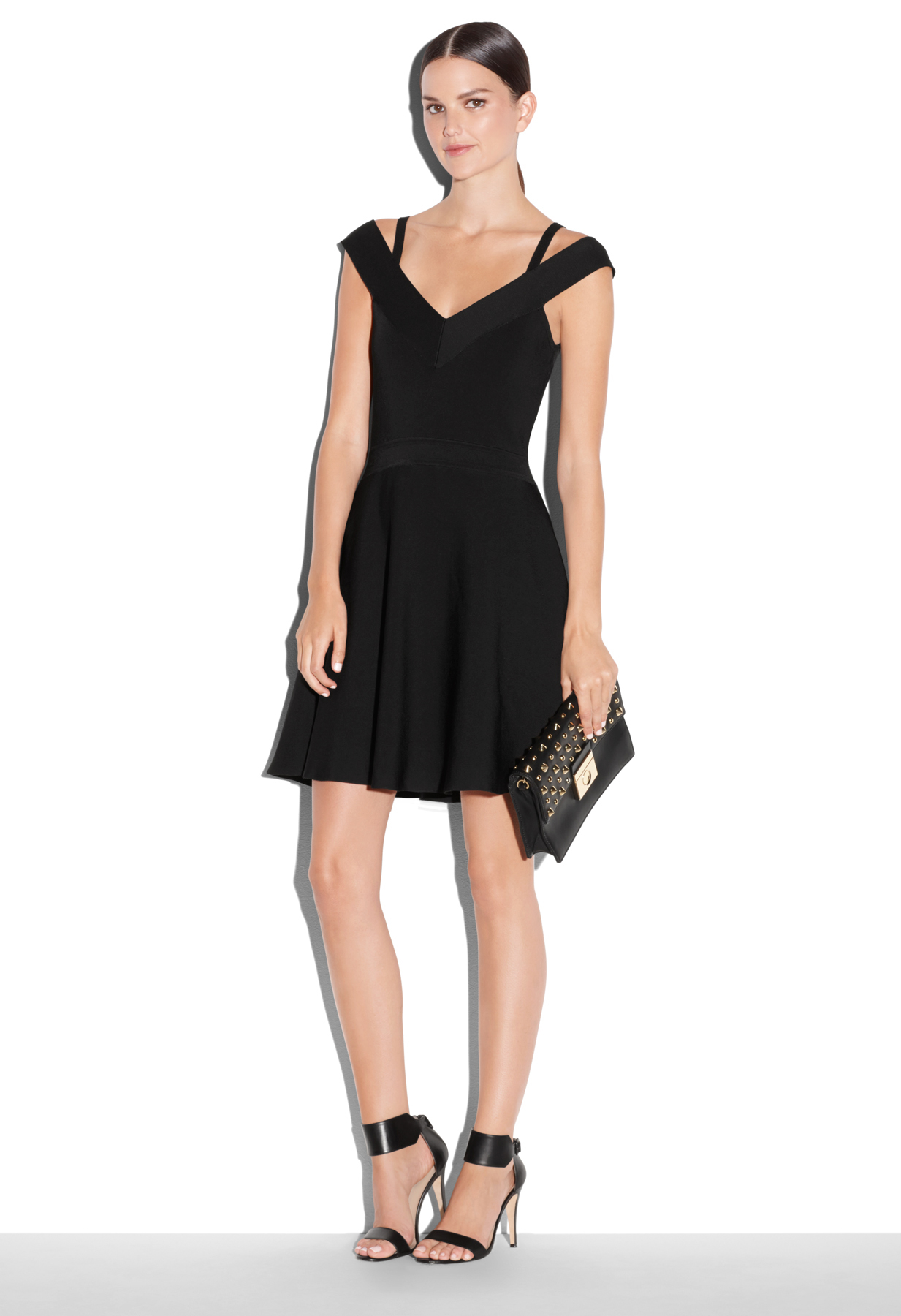 Milly Off The Shoulder Flare Dress In Black Lyst