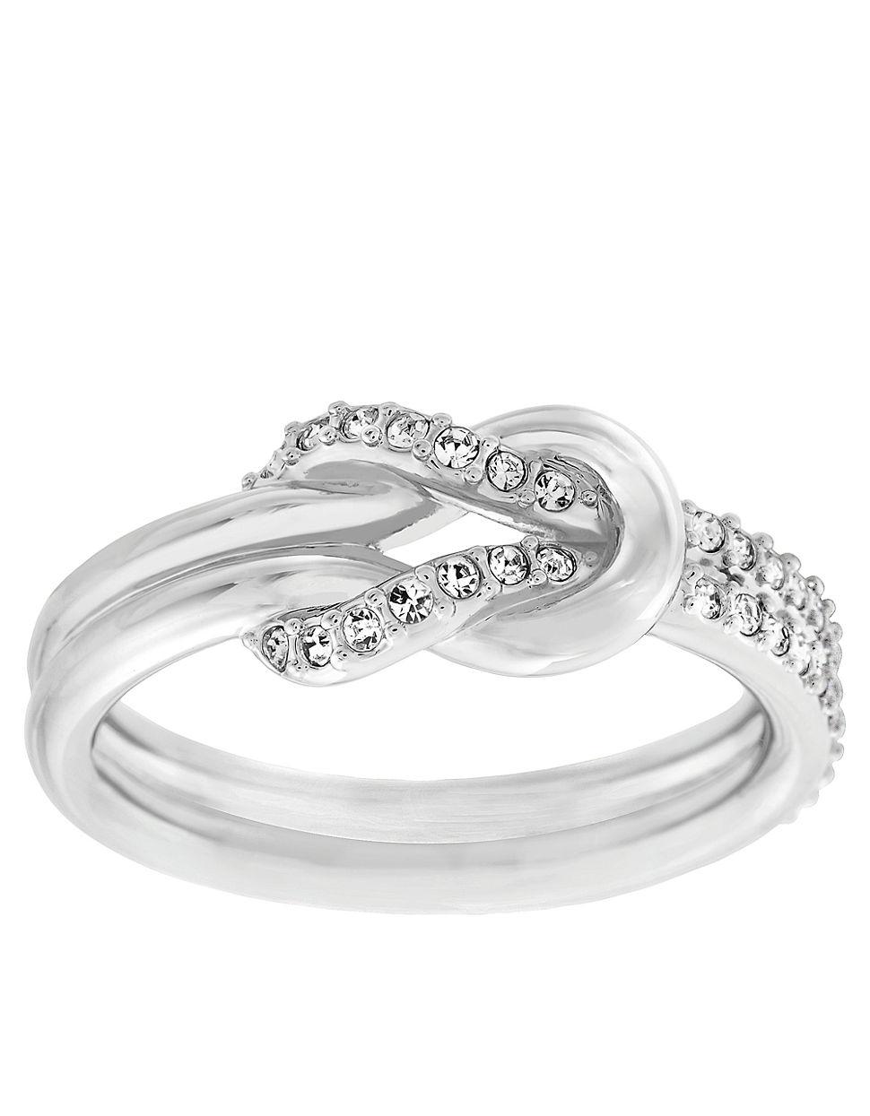 db8c314bf6128 Swarovski Metallic Voile Silvertone And Crystal Knot Ring