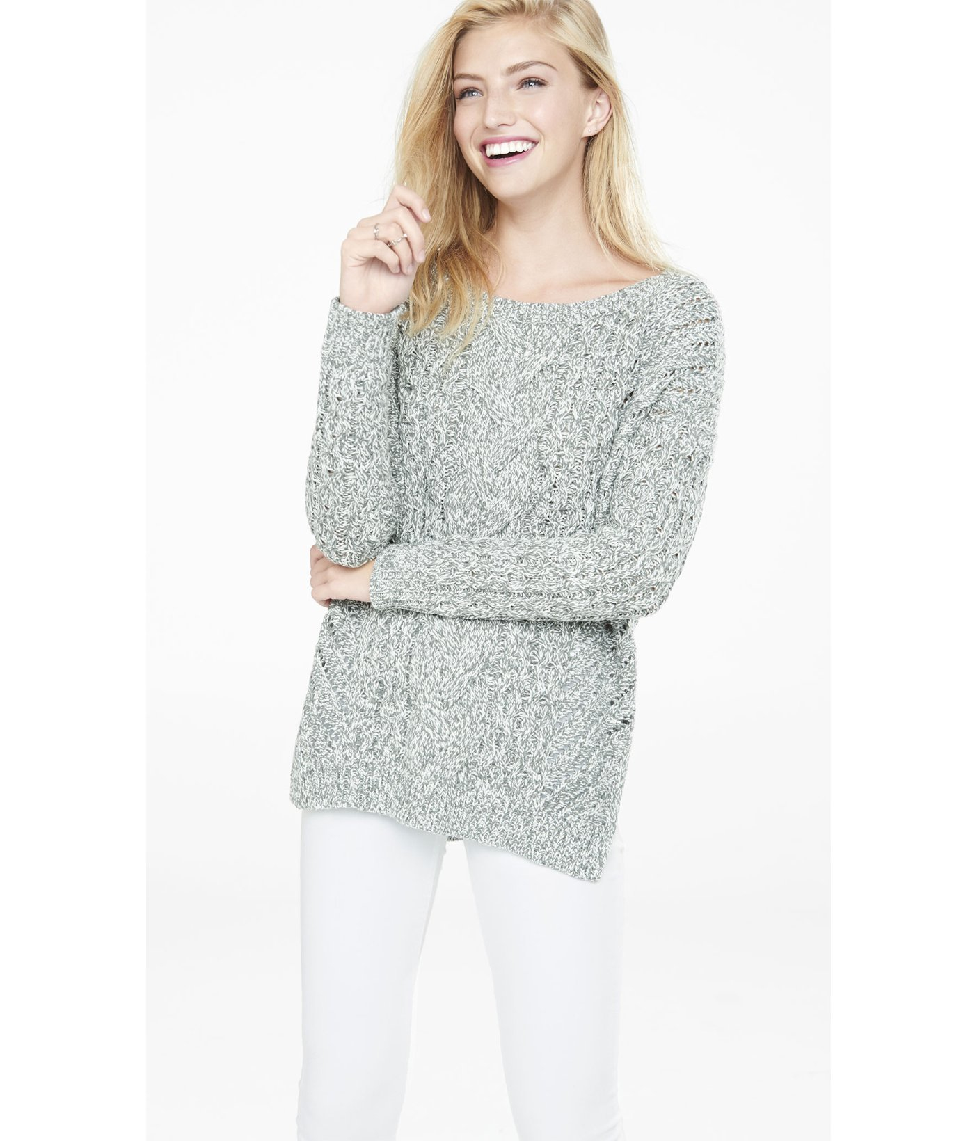 Express Marl Oversized Open Cable Knit Tunic Sweater in Gray | Lyst