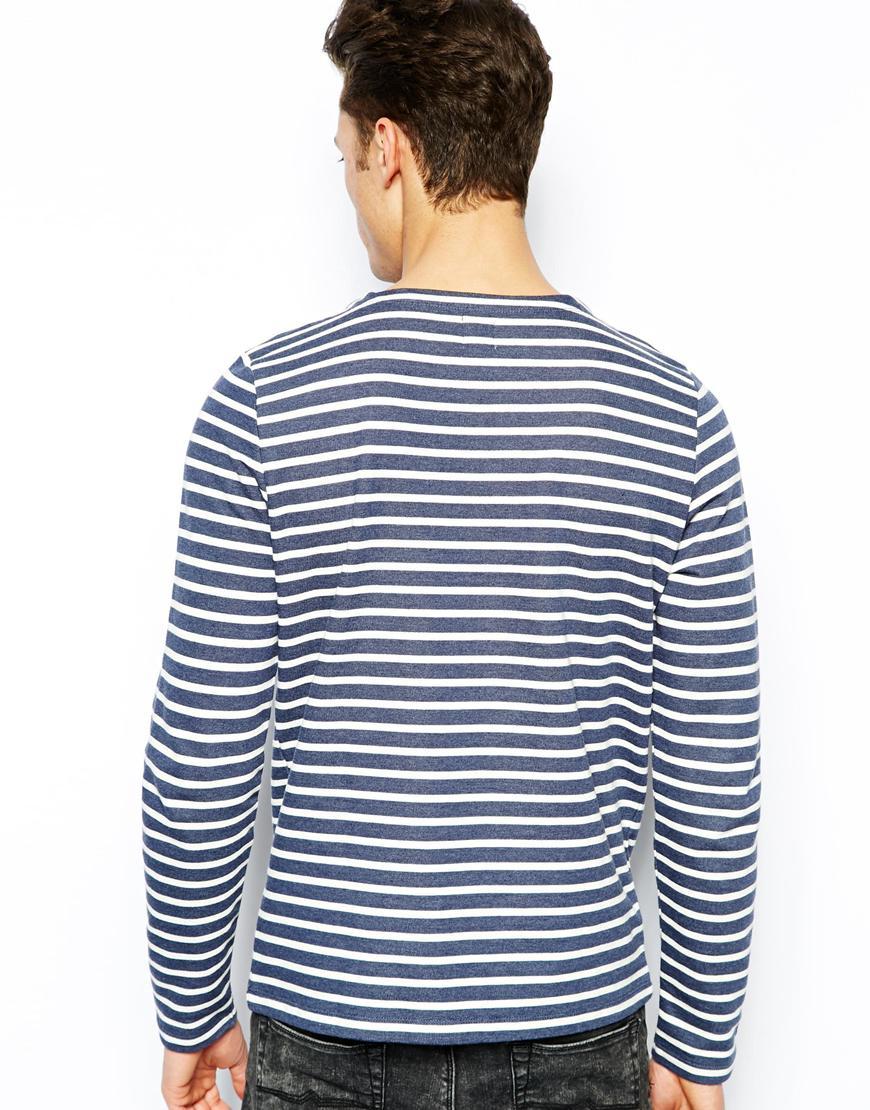 Lyst asos stripe long sleeve t shirt in blue for men for Blue and white striped long sleeve t shirt