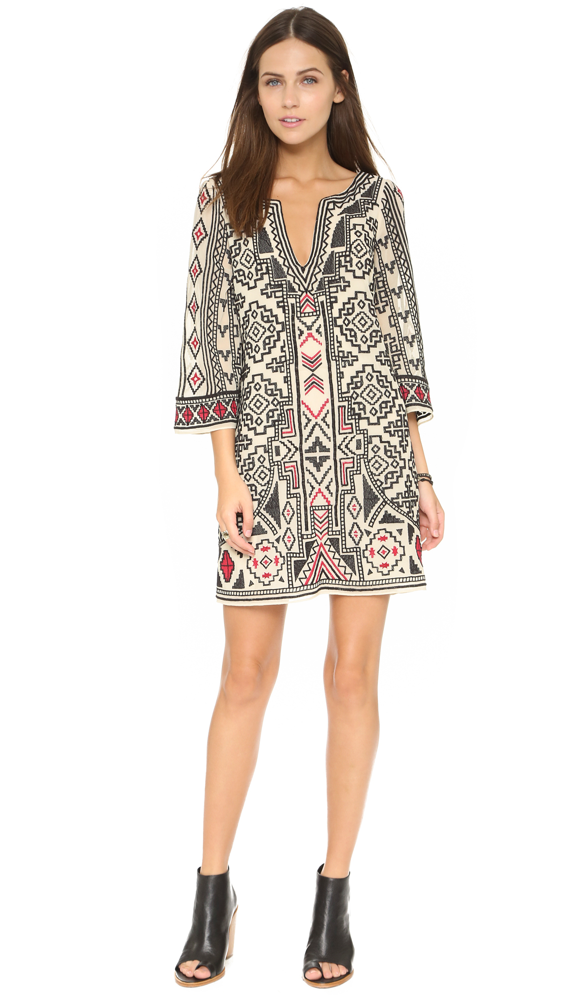 Alice Olivia Lowell Embroidered Dress Cream Black Red