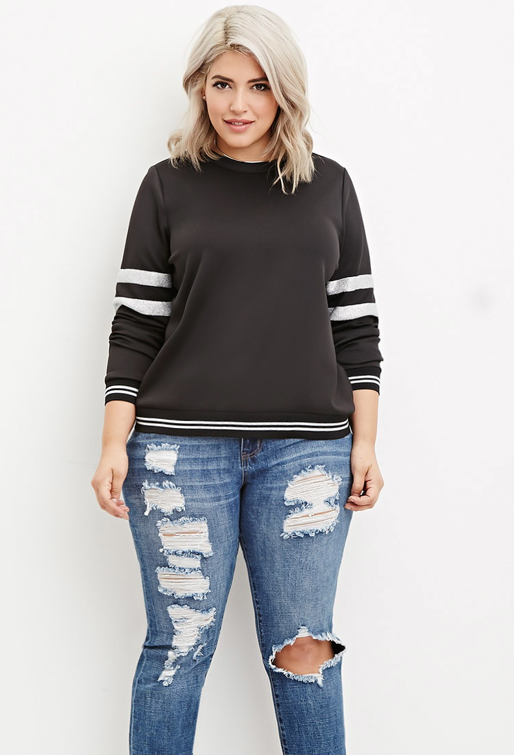 Forever 21 Plus Size Varsity Striped Scuba Knit Sweatshirt