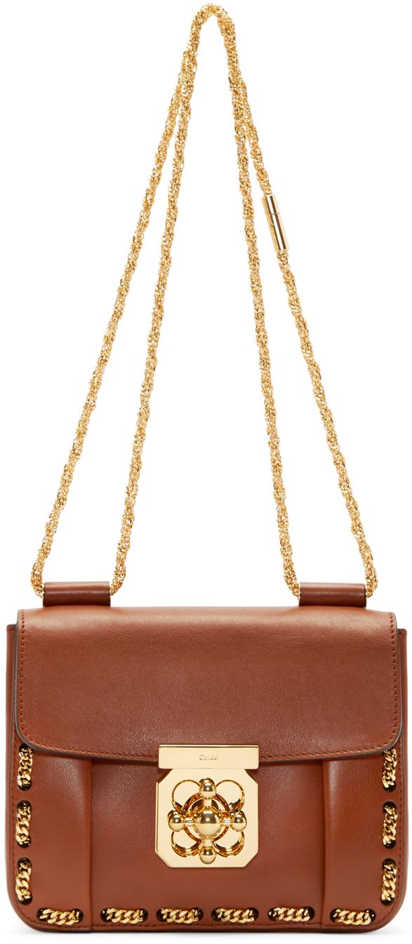 Chlo¨¦ Brown Threaded Chain Small Elsie Bag in Brown   Lyst