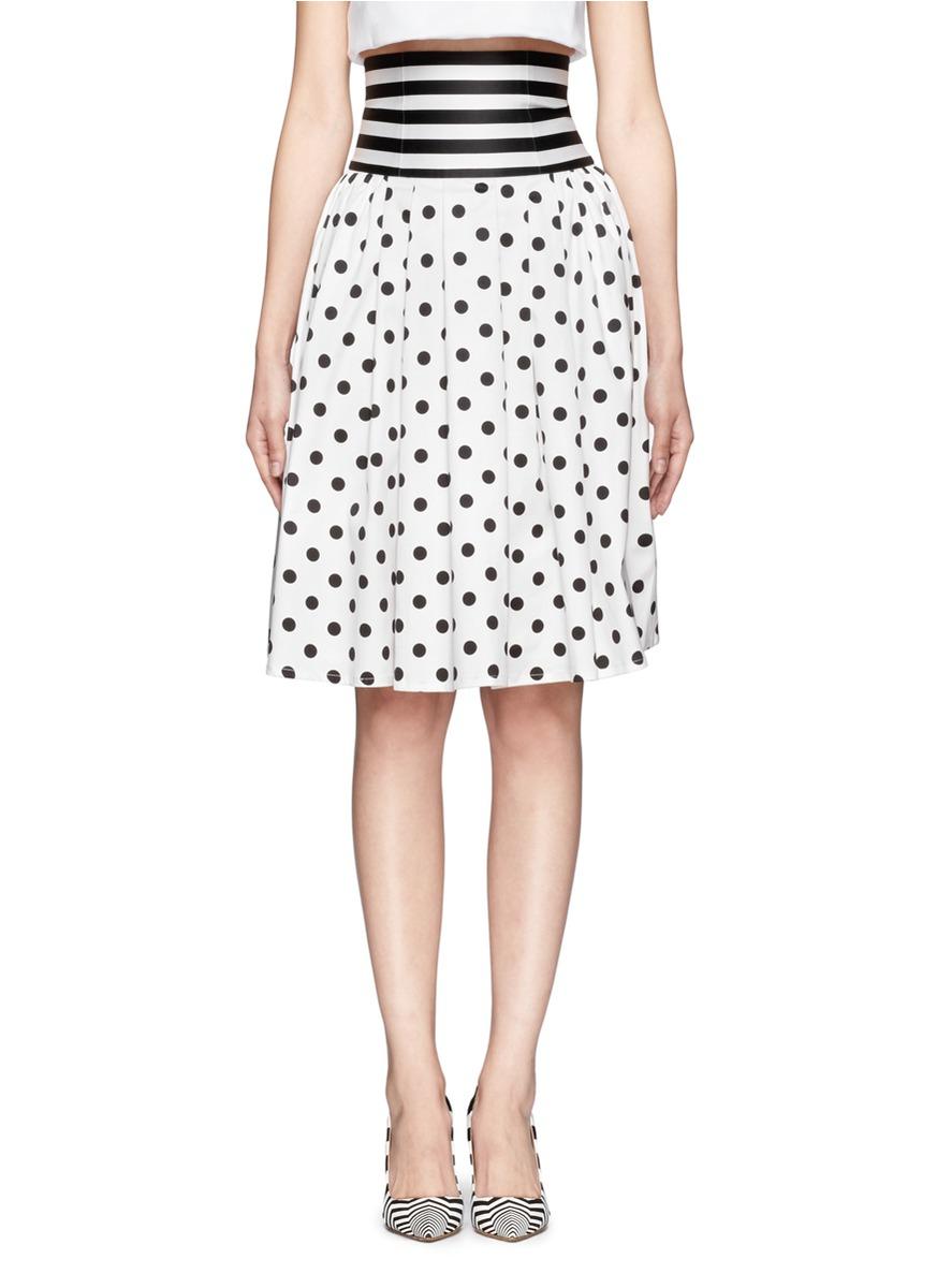 helen polka dot pleat skirt in black lyst