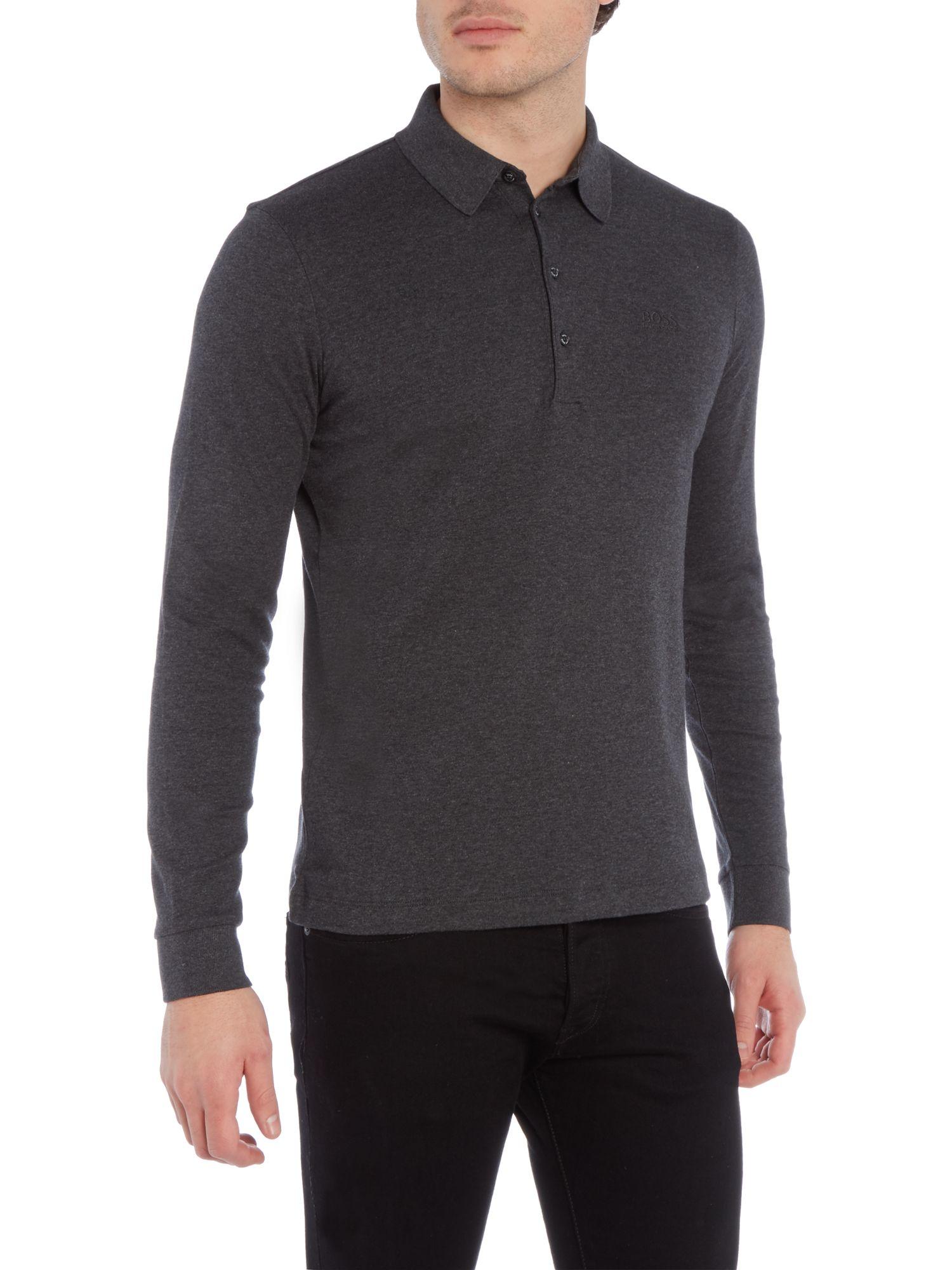 Boss paderna 30 regular fit long sleeve polo shirt in gray for Long sleeve fitted polo shirts