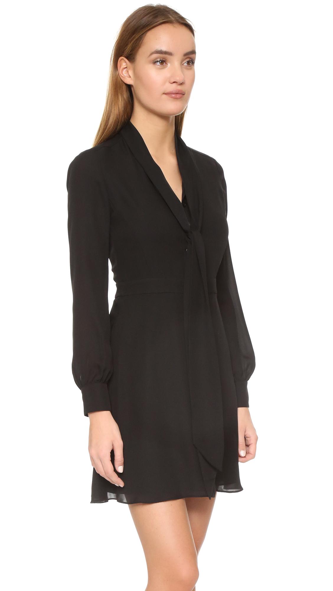 Rebecca Minkoff Scarlet Tie Neck Dress In Black