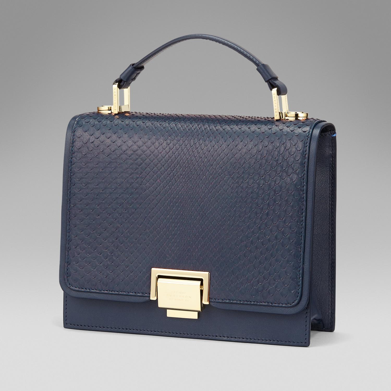 Smythson Leather Mini Crossbody Bag In Python in Blue