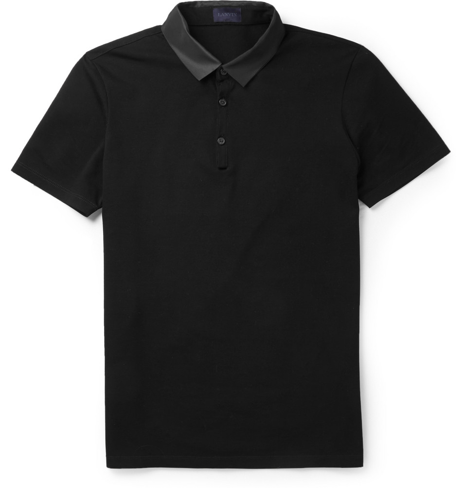 Lyst lanvin grosgrain collar cotton polo shirt in black for Black cotton polo shirt