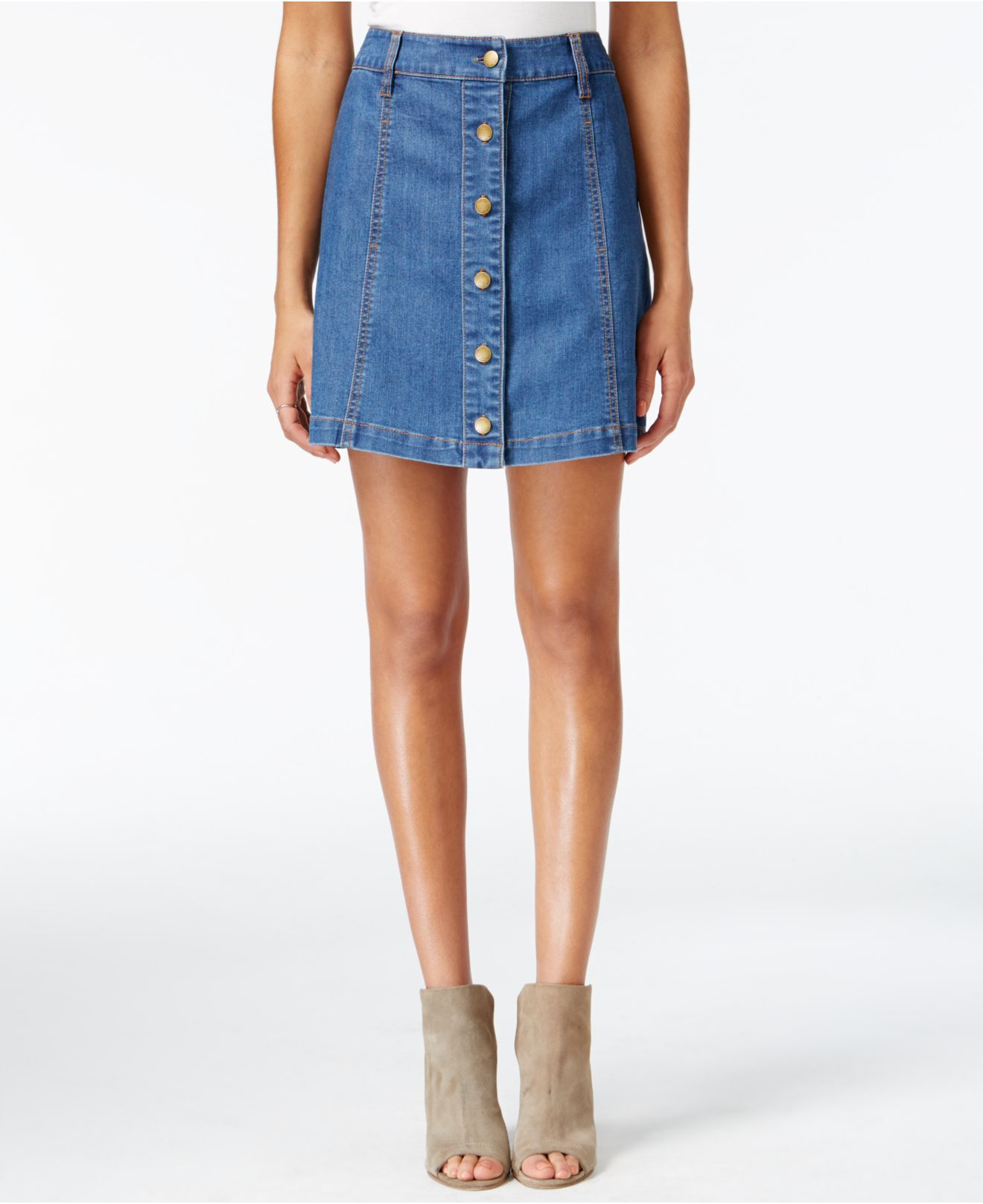 Rachel rachel roy Button-front Denim Skirt in Blue | Lyst