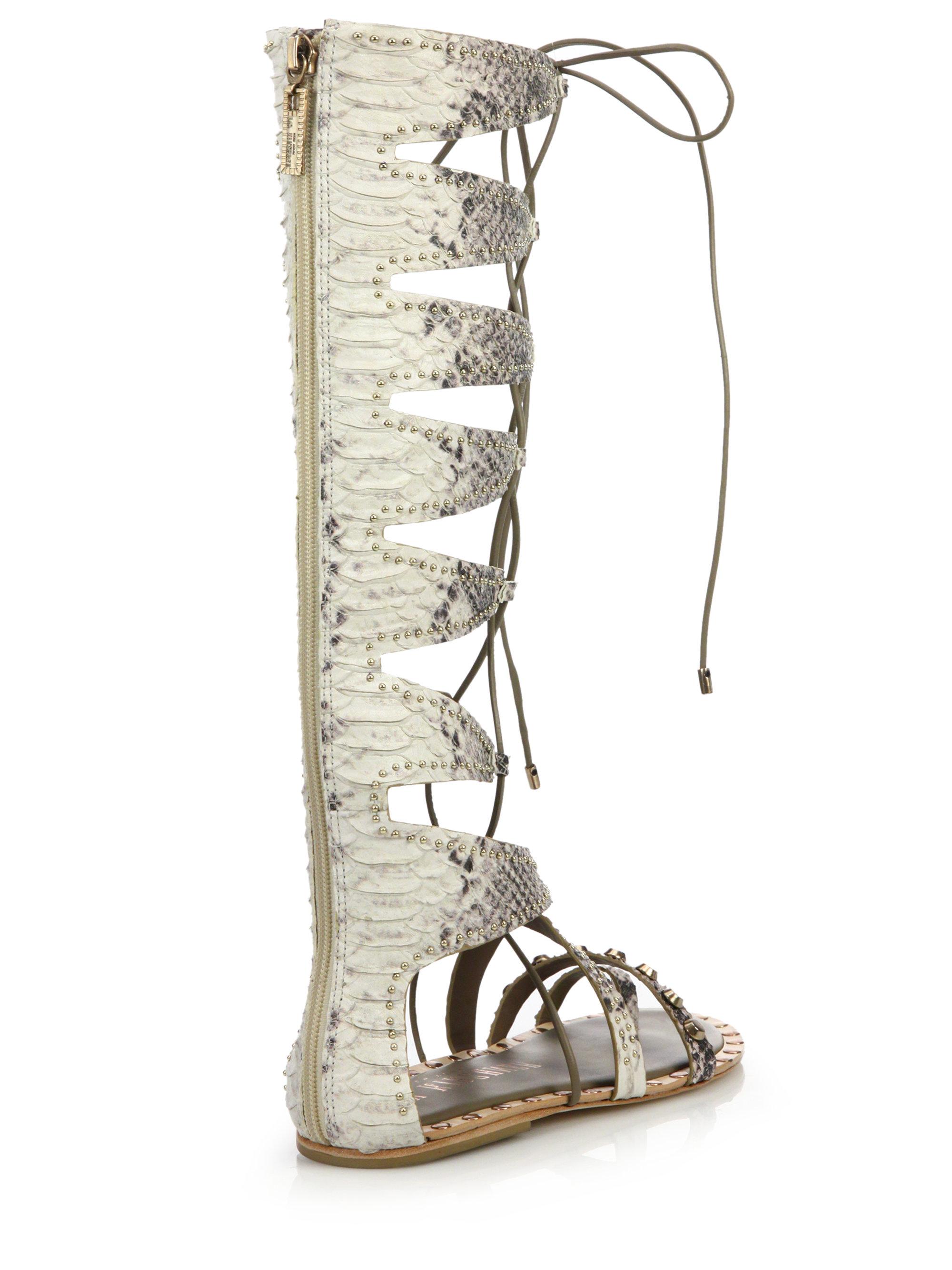 553cbb50478 Lyst - Ivy Kirzhner Sorcerer Studded Leather Lace-up Gladiator Sandals
