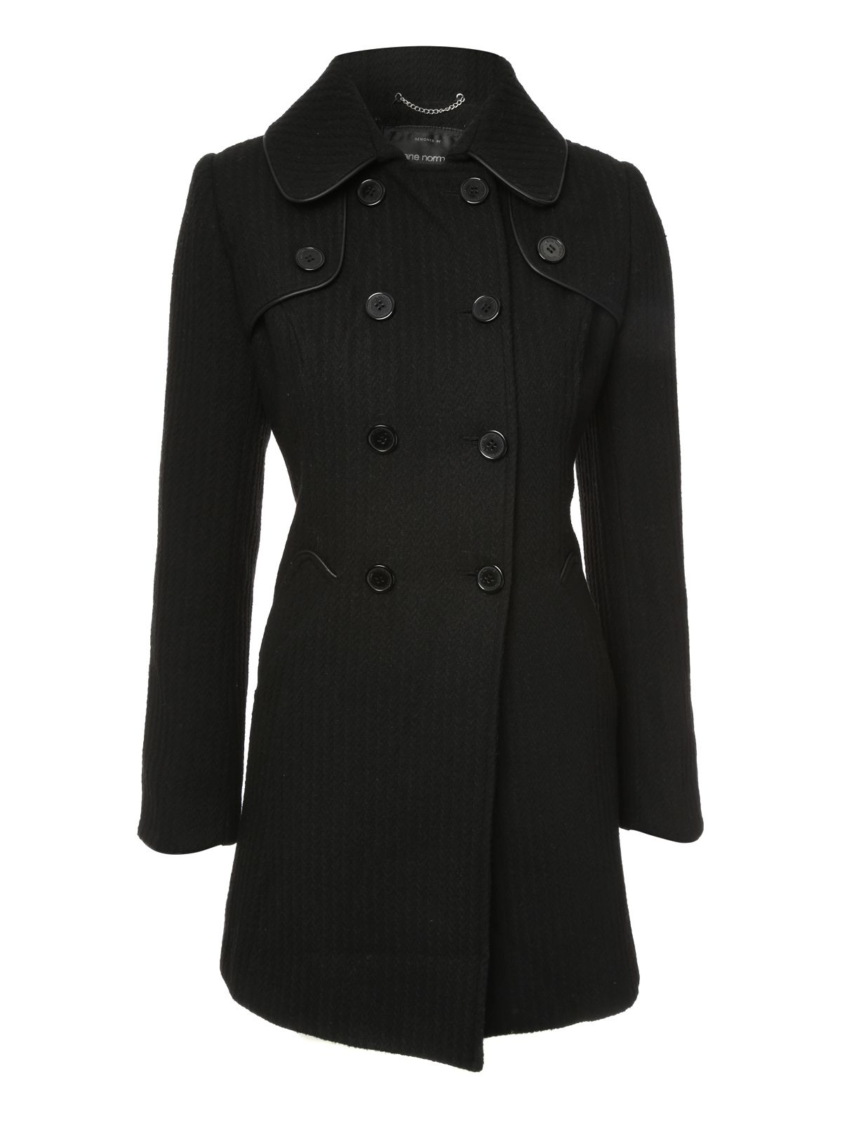 Lyst Jane Norman Wool Fit And Flare Coat In Black